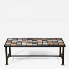 Marble Top Coffee Table on contemporary steel base - 1181491