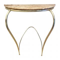 Marble and Brass Wall Console Italy 1950s - 1796350