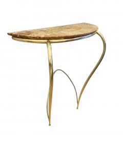 Marble and Brass Wall Console Italy 1950s - 1796351
