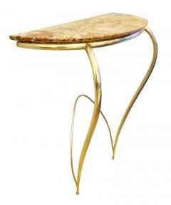 Marble and Brass Wall Console Italy 1950s - 1796360