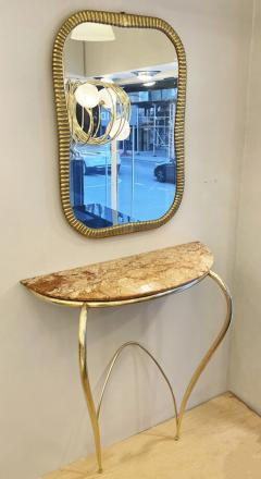Marble and Brass Wall Console Italy 1950s - 1796361
