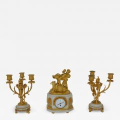 Marble and Bronze Clock Garniture after Jean Michel Clodion French 1738 1814 - 2068905