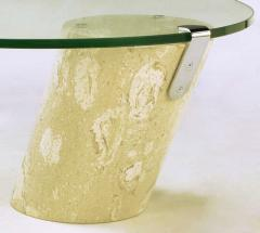 Marble and Cantilever Oval Glass Coffee Table in the Manner of Brueton - 278312