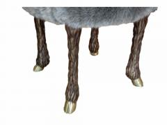 Marc Bankowsky Stool goat leg by Marc Bankowsky in patinated bronze and velvet mohair - 1059327