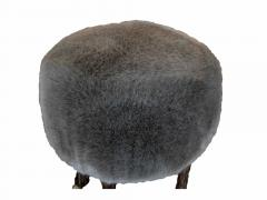 Marc Bankowsky Stool goat leg by Marc Bankowsky in patinated bronze and velvet mohair - 1059329