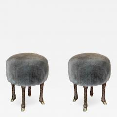 Marc Bankowsky Stool goat leg by Marc Bankowsky in patinated bronze and velvet mohair - 1059398