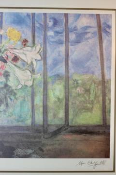 Marc Chagall Marc Chagall Lithograph Bouquet de fleurs devant une fenetre ouverte Signed - 1802108