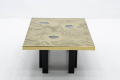 Marc DHaenens etched brass coffee table attributed to Marc Dhaenens  - 778544
