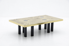 Marc DHaenens etched brass coffee table attributed to Marc Dhaenens  - 778545