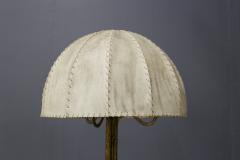 Marc Du Plantier Floor Lamp Midcentury by Marc du Plantier in Brass and Parchment 1950s - 1340722