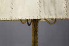 Marc Du Plantier Floor Lamp Midcentury by Marc du Plantier in Brass and Parchment 1950s - 1340723