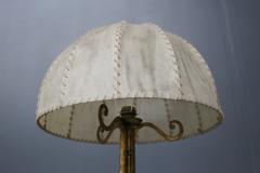 Marc Du Plantier Floor Lamp Midcentury by Marc du Plantier in Brass and Parchment 1950s - 1340727