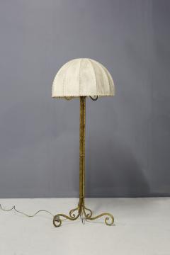Marc Du Plantier Floor Lamp Midcentury by Marc du Plantier in Brass and Parchment 1950s - 1340729