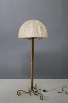 Marc Du Plantier Floor Lamp Midcentury by Marc du Plantier in Brass and Parchment 1950s - 1340737