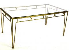 Marc Du Plantier Marc Duplantier style long gold leaf wrought iron dinning table - 1689712