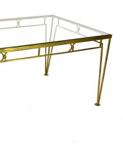 Marc Du Plantier Marc Duplantier style long gold leaf wrought iron dinning table - 1689716