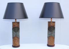 Marcello Fantoni Marcello Fantoni For Raymor Brutalist Copper Table Lamps - 1985967