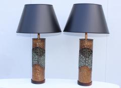 Marcello Fantoni Marcello Fantoni For Raymor Brutalist Copper Table Lamps - 1985968