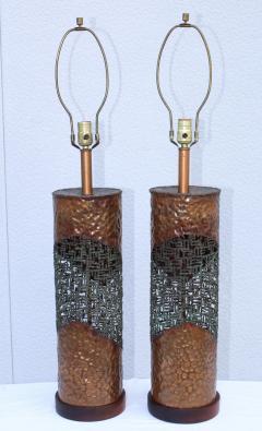 Marcello Fantoni Marcello Fantoni For Raymor Brutalist Copper Table Lamps - 1985970