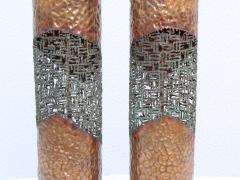 Marcello Fantoni Marcello Fantoni For Raymor Brutalist Copper Table Lamps - 1985971