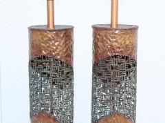 Marcello Fantoni Marcello Fantoni For Raymor Brutalist Copper Table Lamps - 1985972