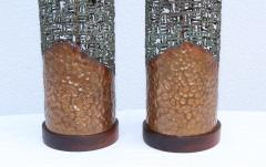 Marcello Fantoni Marcello Fantoni For Raymor Brutalist Copper Table Lamps - 1985973