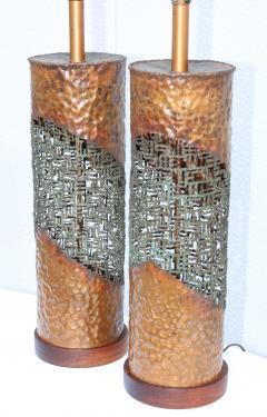 Marcello Fantoni Marcello Fantoni For Raymor Brutalist Copper Table Lamps - 1985974