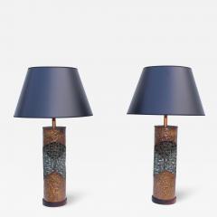 Marcello Fantoni Marcello Fantoni For Raymor Brutalist Copper Table Lamps - 1987598