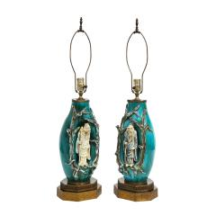 Marcello Fantoni Marcello Fantoni Pair of Superb Ceramic Table Lamps with Chinese Figures 1950s - 2019636