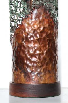 Marcello Fantoni Marcello Fantoni for Raymor Brutalist Copper Verdigris Torch Cut Table Lamp - 1750798