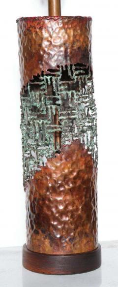 Marcello Fantoni Marcello Fantoni for Raymor Brutalist Copper Verdigris Torch Cut Table Lamp - 1750800