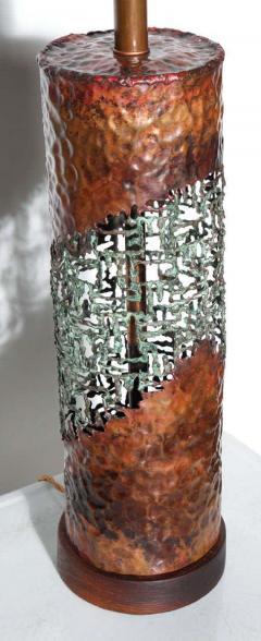 Marcello Fantoni Marcello Fantoni for Raymor Brutalist Copper Verdigris Torch Cut Table Lamp - 1750801