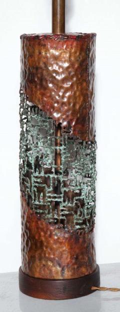Marcello Fantoni Marcello Fantoni for Raymor Brutalist Copper Verdigris Torch Cut Table Lamp - 1750808