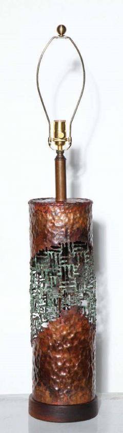Marcello Fantoni Marcello Fantoni for Raymor Brutalist Copper Verdigris Torch Cut Table Lamp - 1750810