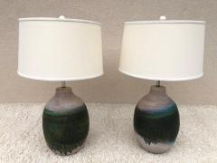 Marcello Fantoni Pair of Massive Fantoni Signed Ceramic Handmade Glazed Lamps - 1947561