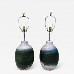 Marcello Fantoni Pair of Massive Fantoni Signed Ceramic Handmade Glazed Lamps - 1949217