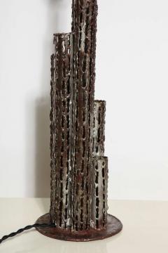 Marcello Fantoni Tall Marcello Fantoni Bronzed Brass Brutalist Skyscraper Table Lamp 1950s - 1676844