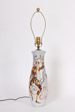 Marcello Fantoni Tall Marcello Fantoni Colorful Hand Painted Harlequin Ceramic Table Lamp - 1583232