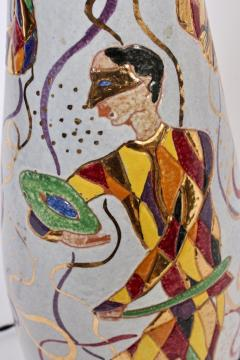 Marcello Fantoni Tall Marcello Fantoni Colorful Hand Painted Harlequin Ceramic Table Lamp - 1583233