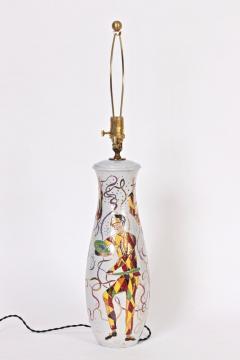 Marcello Fantoni Tall Marcello Fantoni Colorful Hand Painted Harlequin Ceramic Table Lamp - 1583237