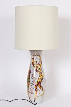 Marcello Fantoni Tall Marcello Fantoni Colorful Hand Painted Harlequin Ceramic Table Lamp - 1583238
