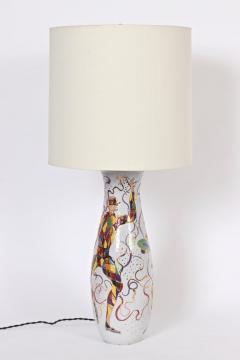 Marcello Fantoni Tall Marcello Fantoni Colorful Hand Painted Harlequin Ceramic Table Lamp - 1583239