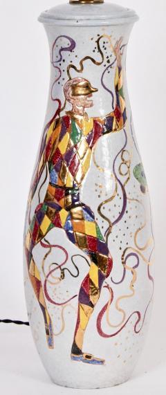 Marcello Fantoni Tall Marcello Fantoni Colorful Hand Painted Harlequin Ceramic Table Lamp - 1583240
