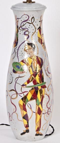 Marcello Fantoni Tall Marcello Fantoni Colorful Hand Painted Harlequin Ceramic Table Lamp - 1583241