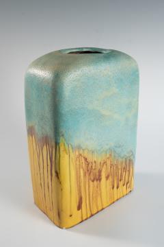Marcello Fantoni large turquoise and yellow slab vase by Marcello Fantoni - 939778