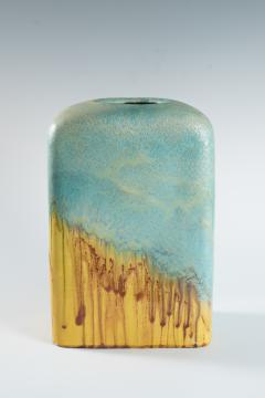 Marcello Fantoni large turquoise and yellow slab vase by Marcello Fantoni - 939780