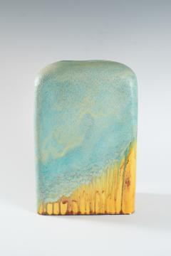 Marcello Fantoni large turquoise and yellow slab vase by Marcello Fantoni - 939782