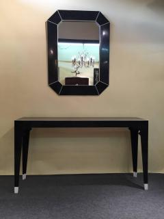 Marcius Style Black and White Fossil Stone Console with Matching Mirror - 113340