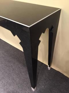 Marcius Style Black and White Fossil Stone Console with Matching Mirror - 113343