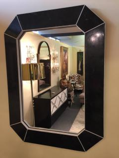Marcius Style Black and White Fossil Stone Console with Matching Mirror - 113344